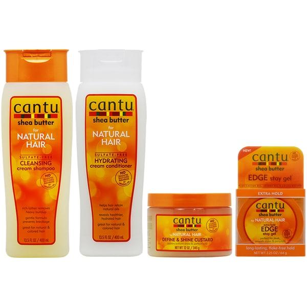 Cantu Cleansing Shampoo, Conditioner, Define & Shine Custard & Edge Gel 31299124