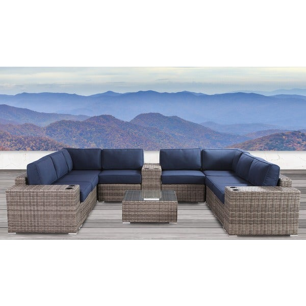 Living Source International Antibes Grey Wicker/Aluminium Weather-resistant 12-piece Conversation Set with Cup Holders 31305908