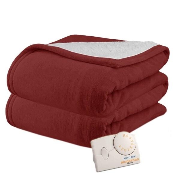 Pure Warmth by Biddeford MicroPlush Sherpa Electric Heated Blanket Twin Claret 31307494