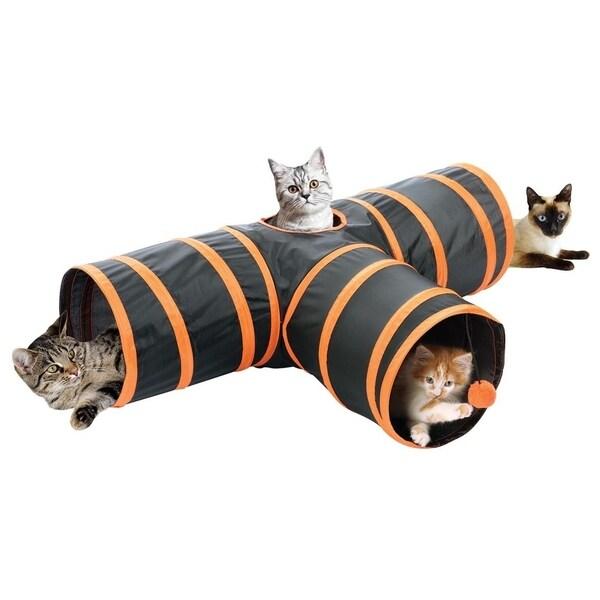 Fun Pet Cat Tunnel 3 Way Cat Tunnel - Orange Cat Crinkle Tunnel 31309248