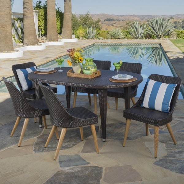 Bentley Outdoor 7-piece Oval Wicker Wood Dining Set by Christopher Knight Home -  302644