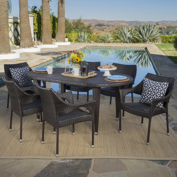 Tinos Outdoor 7-piece Oval Wicker Dining Set by Christopher Knight Home -  302650
