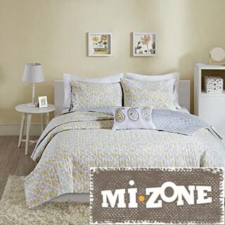 Mi Zone Lizzy Yellow Cotton 4-piece Coverlet Set