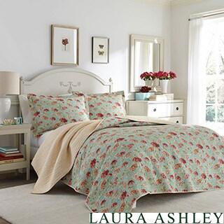 Laura Ashley Edwina Floral Cotton Reversible Quilt Set