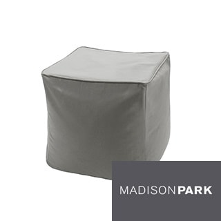 Madison Park Mission Taupe Solid 3M Scotchgard Indoor/ Outdoor Pouf