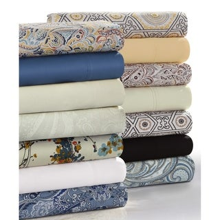 Solid or Printed 300 Thread Count Cotton Sateen Deep Pocket Bed Sheet Set