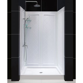 """DreamLine 32 in. D x 48 in. W x 76 3/4 in. H Single Threshold Shower Base and Acrylic Backwall Kit - 32"""" x 48"""""""