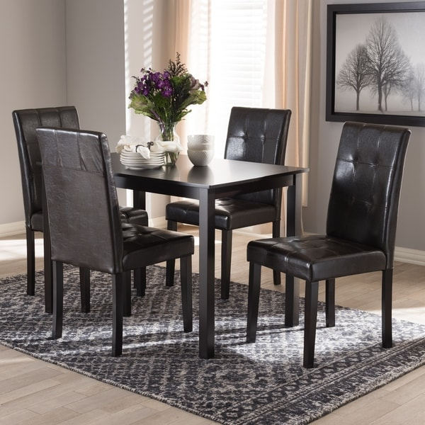 Contemporary Brown Faux Leather 5-Piece Dining Set by Baxton Studio 31347165