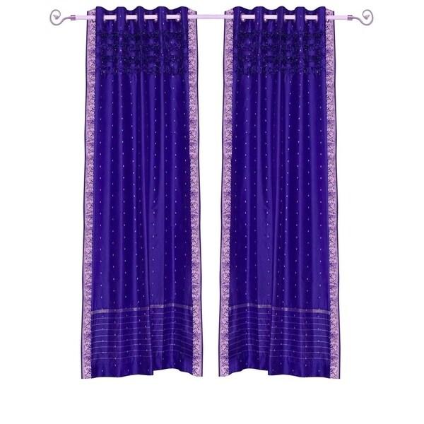 Purple Hand Crafted Grommet Top Sheer Sari Curtain Panel -Piece 31348099
