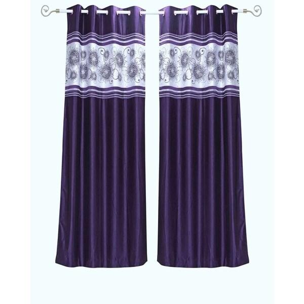 Purple Grommet Top Satin Curtain Panel Drape -Piece 31348357