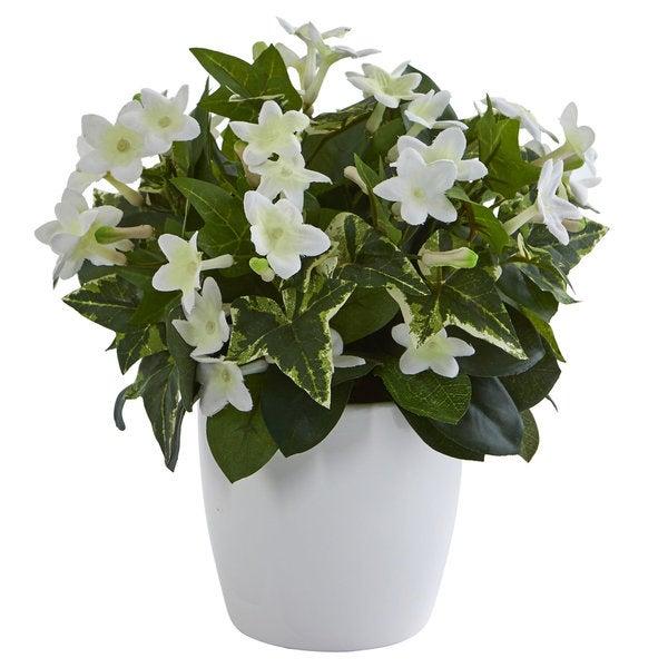 Stephanotis Artificial Plant in White Vase 31349092