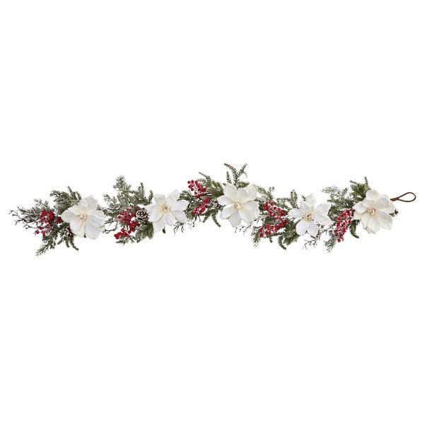 "60"" Frosted Magnolia & Berry Artificial Garland 31351193"