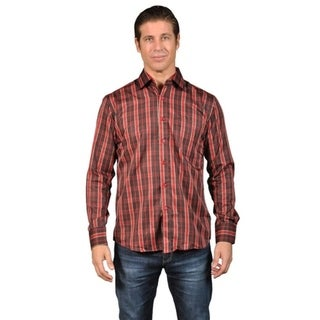 Men's Checkered Long Sleeve Button Down Shirt Burgundy 31353907