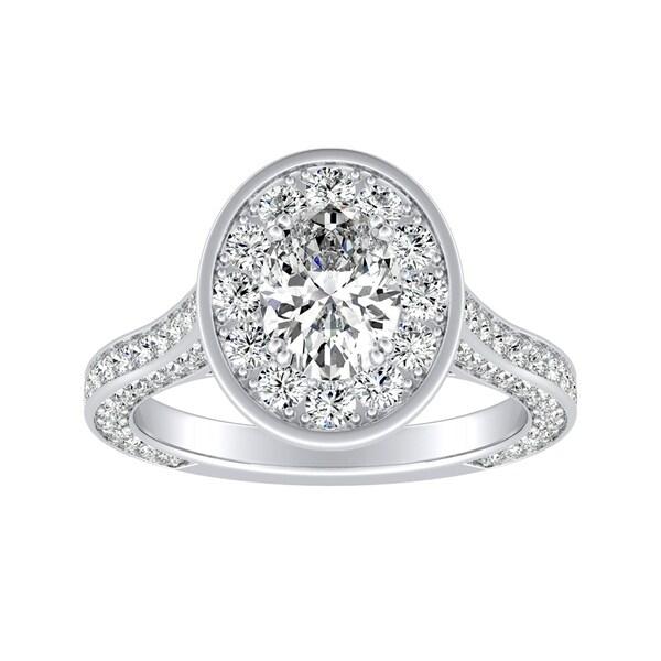 Auriya Platinum 2 1/4ct TDW Oval-Cut Diamond Halo Engagement Ring 31383654