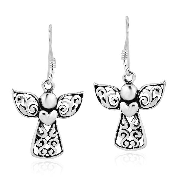 Guardian Angel of Love Sterling Silver Dangle Earrings (Thailand) 31422839