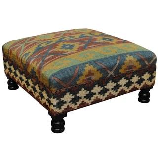 "Handmade Tribal Kilim Upholstered Ottoman (India) - 31"" x 31"" x 15"""