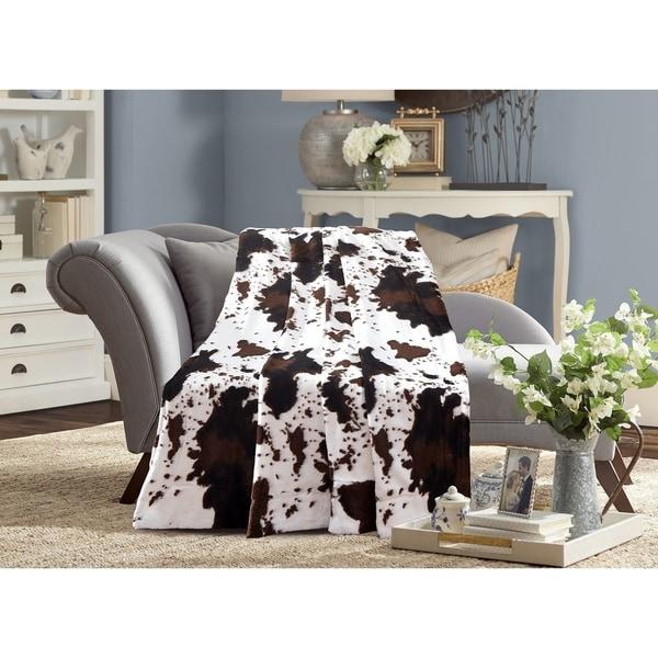 De Moocci Cow Print Reversible Faux Fur Blanket Back with Micromink 31427592