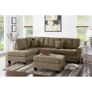 Bobkona Adolph Linen-like Polyfabric Left or Right hand Chaise Sectional Set with Ottoman