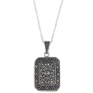 Glitzy Rocks Sterling Silver Marcasite Locket Pendant