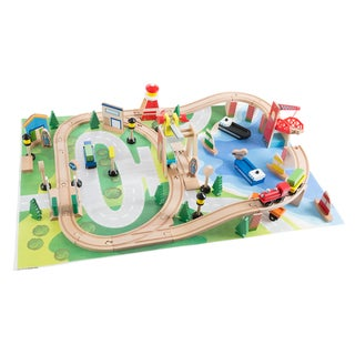 Wooden Train Set with Play Mat for Kids - by Hey! Play!