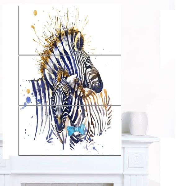 Designart 'Zebra Family Illustration Watercolor' Contemporary Animal Art Canvas 31450248