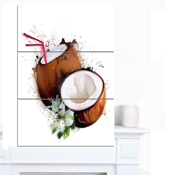 Designart 'Coconuts with Straw Watercolor' Extra Large Floral Canvas Art 31453402