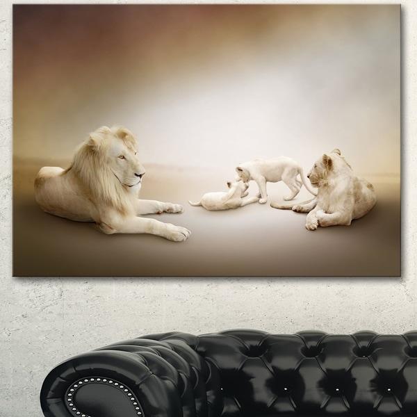 Designart 'White Lion Family ' Large Animal Art on Canvas 31456214