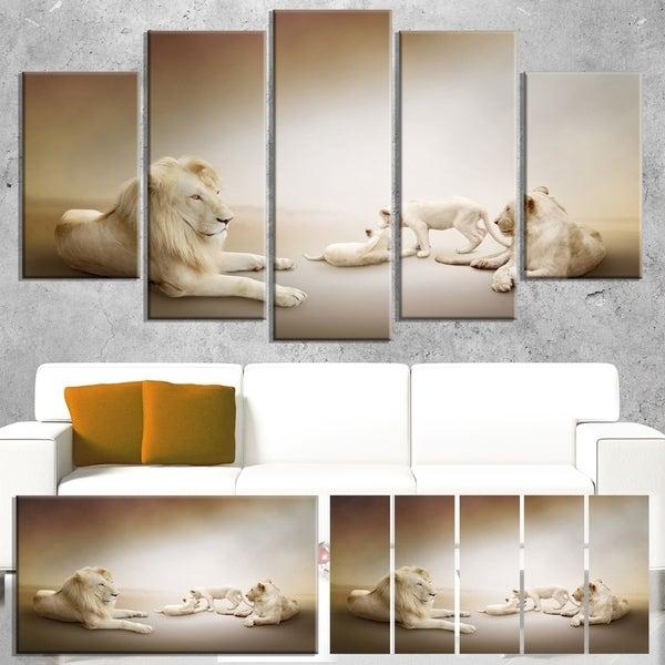 Designart 'White Lion Family' Large Animal Art on Canvas 31460229