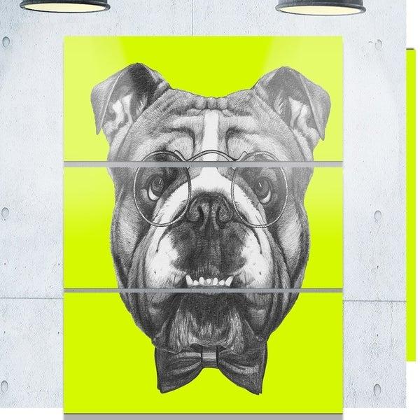 Designart 'English Bulldog with Bow Tie' Contemporary Animal Art Metal Wall Art 31462287