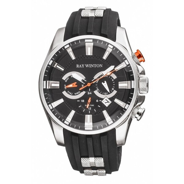 Ray Winton Men's WI0512 Multi-Function GMT Black Dial Black Silicone Watch 31467333