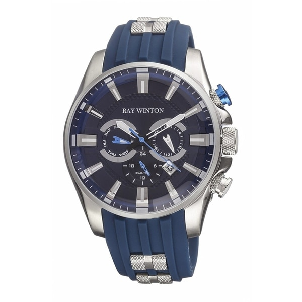 Ray Winton Men's WI0513 Multi-Function GMT Blue Dial Blue Silicone Watch 31467337