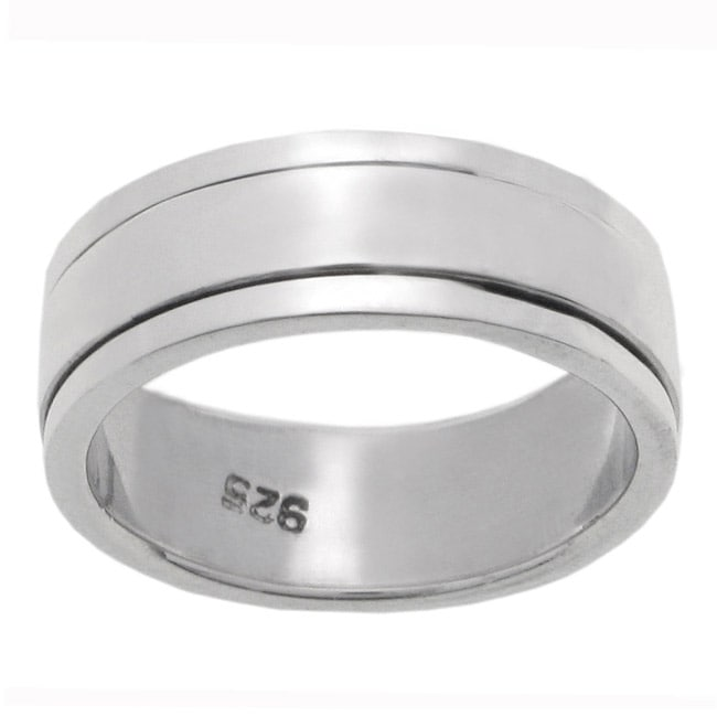 Journee Collection Sterling Silver Pipe Cut Spinner Ring