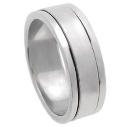 Tressa Sterling Silver Pipe Cut Spinner Ring