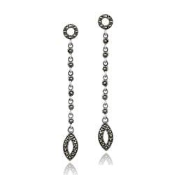 Glitzy Rocks Sterling Silver Marcasite Dangling Earrings