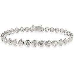 DB Designs Sterling Silver Diamond-accent Heart Bracelet