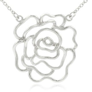 Journee Collection Sterling Silver Rose Outline Necklace