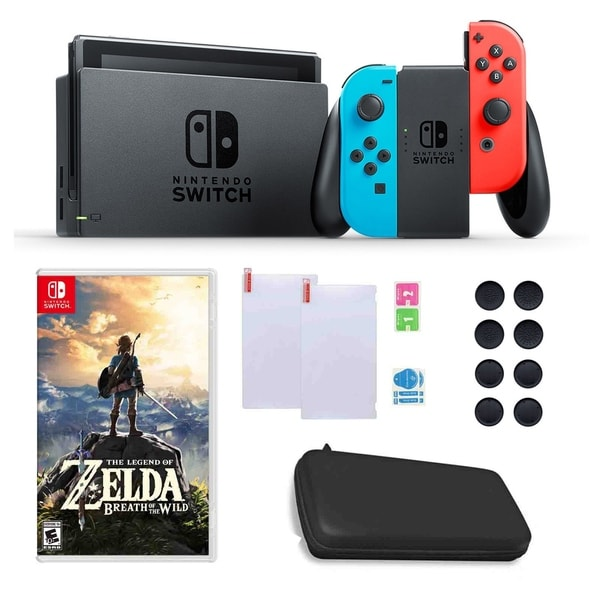 Nintendo Switch in Blue and Red with Zelda Game, Silicone Sleeves and Accessories Bundle 31521005