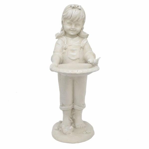 White Resin Girl Figurine - Benzara 31529704