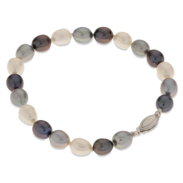"""PearLustre by Imperial 7.5"""" SS Multi-color Freshwater Pearl Bracelet 31532446"""