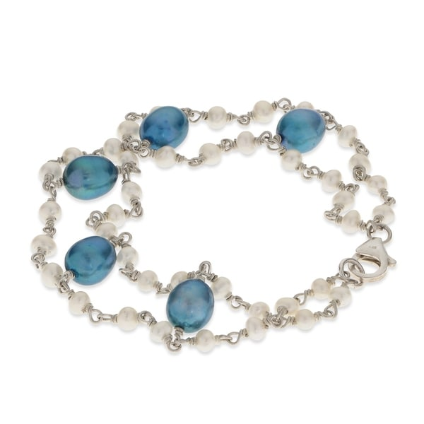 """PearLustre by Imperial 7.5"""" SS Blue and Wht Freshwater Pearl Bracelet 31532447"""