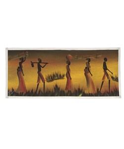 Village Life Scene Painting (Malawi)