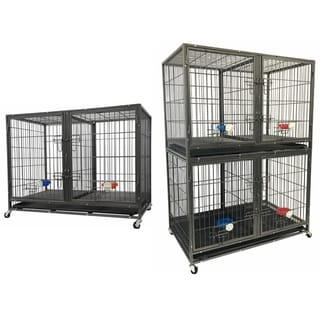 """Go Pet Club 44"""" Heavy Duty Stackable Cat/Dog Crate with Divider and Water Bowls"""