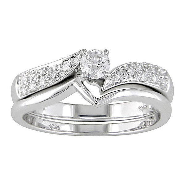 Miadora 14k White Gold 1/3 ct TDW Round Diamond Bridal Ring Set (G-I, I1-I2)