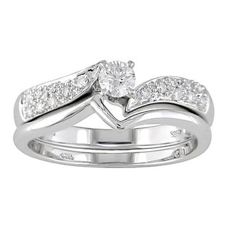 Miadora 14k White Gold 1/3 ct TDW Round Diamond Bridal Ring Set (G-I, I1-I2)