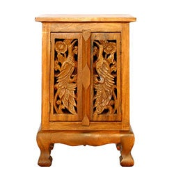 Hand-carved Animals Acacia Wood Cabinet