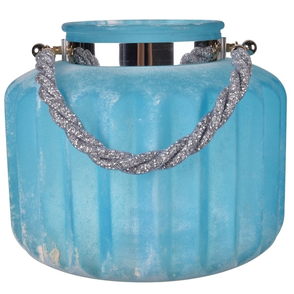 Frosted Glass Vase With Twisted Glittery Handle, Blue 31590460