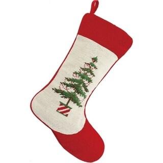 Diagonal Red and White Tree Pot Needlepoint Stocking