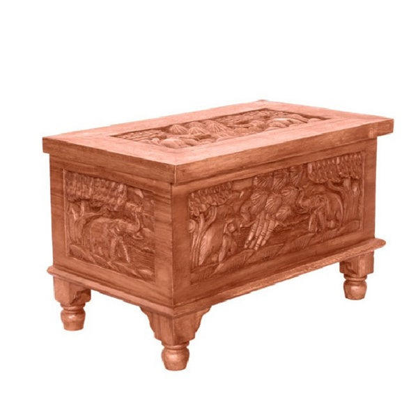 Hand-carved Elephant Design Coffee Table Chest