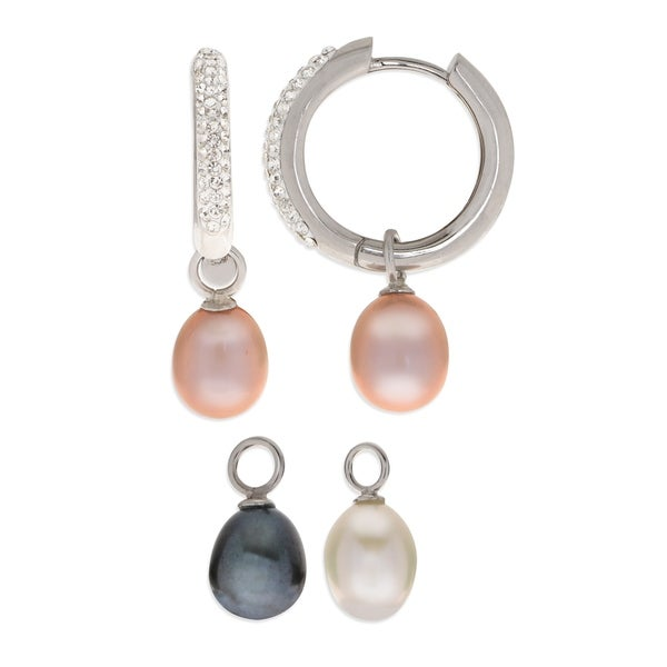 PearLustre by Imperial 3pc Sterling Silver Interchangeable Freshwater Pearl and Crystal Hoop Earring Set 31607159