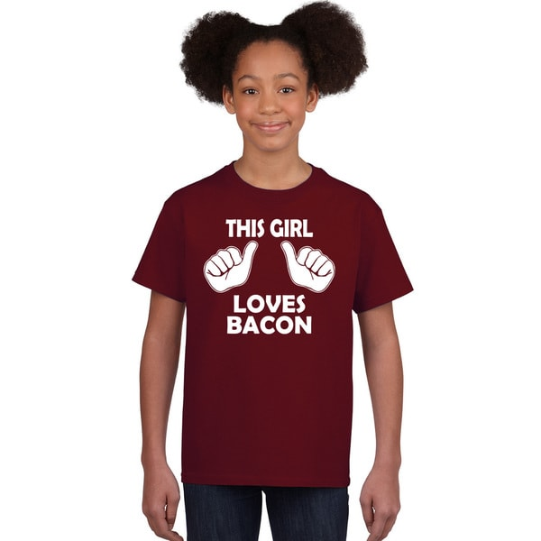 Kids This Girl Loves Bacon T-Shirt Funny Youth Shirt For Girls 31611267